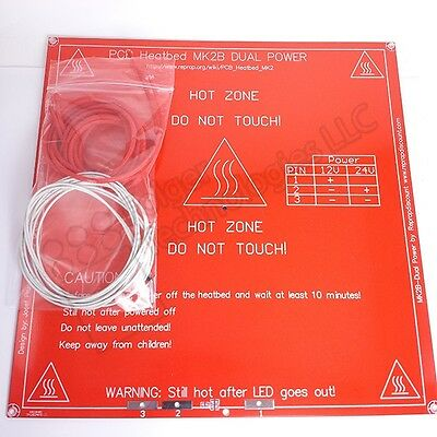 MK2B 12/24V Heat Bed RepRap 3D printers + Thermistor & Heat Shield Wire