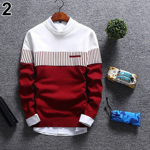 KE/_Mens Fashion Strip Color Knitwear Jumper Pullover Sweater Tops Casual Clothes