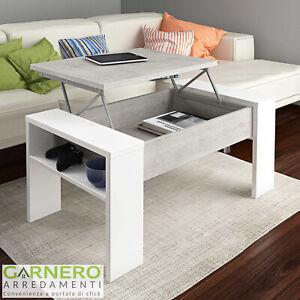 Dettagli su Tavolino salotto EMMET con rialzo contenitore bianco cemento  design moderno