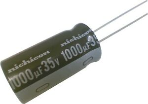 Lot-of-2-Nichicon-Electrolytic-Capacitors-1000uF-35V-105C-UHD1V102MHD-UHD