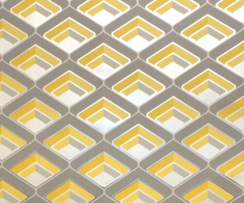 Metallic Cream With Glitter Mustard Grey Retro 1950/'s 1960/'s GEO Wallpaper