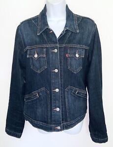 Vintage 1990s LEVIS Womens Trucker Jacket Made in USA Red Tab Denim Jean Blue L