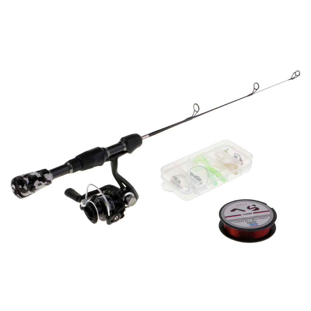Ice Fishing Combo Kit Micro Spinning Rod and Reel Spoons Lures Line with Bag