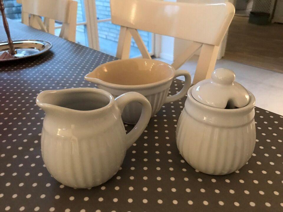 Keramik, Flødekande, sukkerskål samt skål