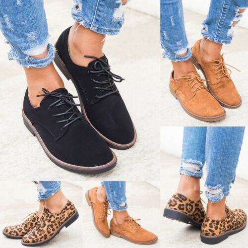 Women Fashion Comfort Oxfords Shoes Lace-up Suede Round Toe Ladies Loafers Shoes