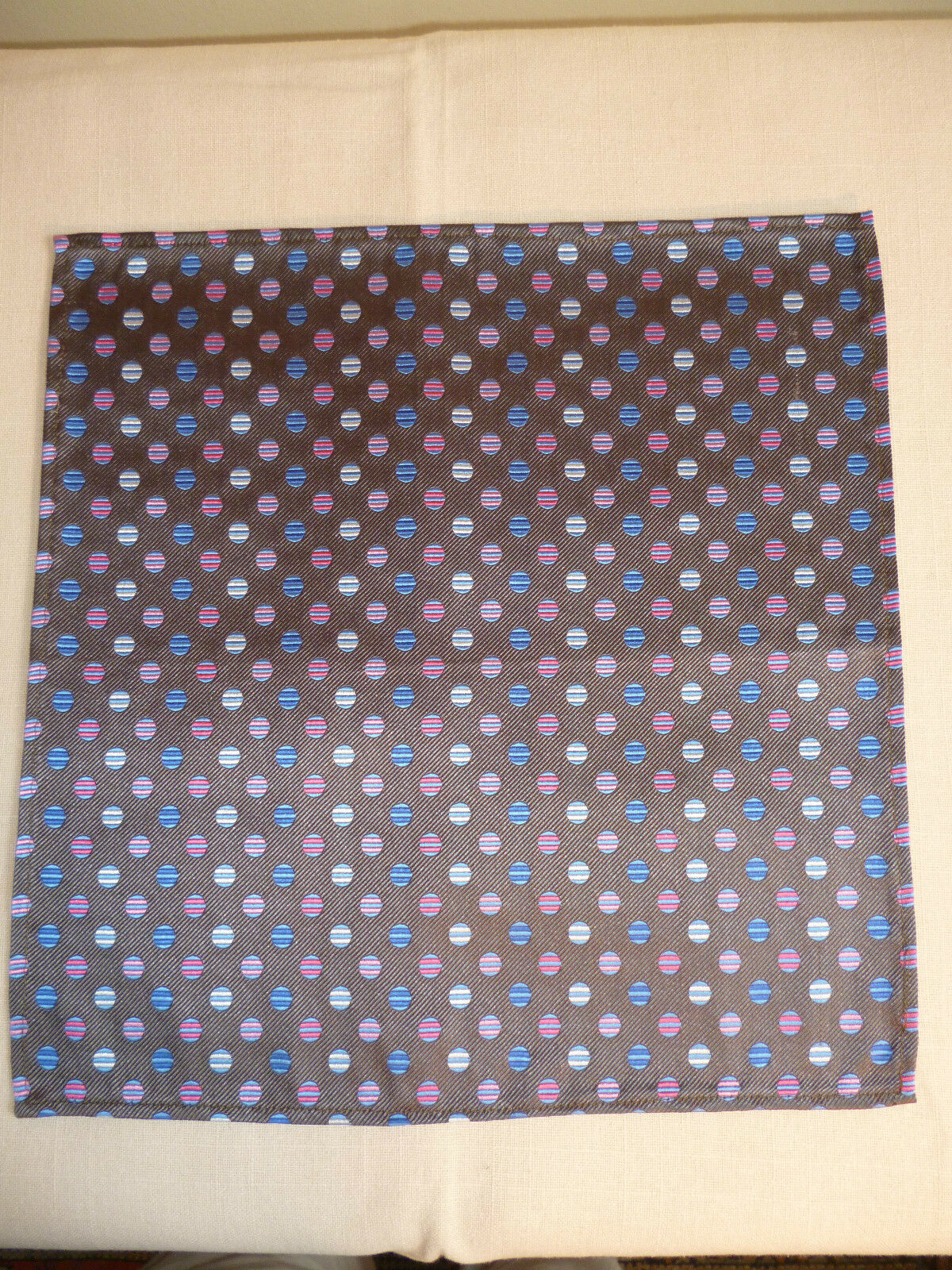 Silk mens top pocket handkerchief Pink/blue/white circles on taupe NEW