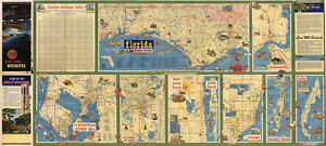 Map Western Florida.Details About Florida Map Western Section And Various Cities Wall Poster Print Vintage History