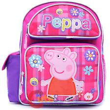 "Nick Peppa Pig School Backpack 12"" Girls Book Bag Pink Checker Flower"