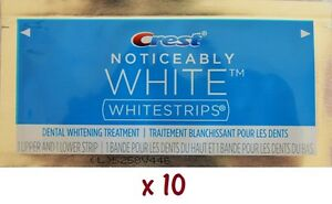 Crest Noticeably White Whitestrips 20 Strips in 10 Pouches Teeth
