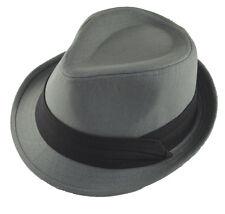 Charcoal Gray Basic Fedora Hat Cap with Black Band-xxl-2xl-62cm