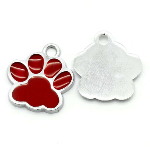 10PCs Gift Charm Pendants Enamel Red Dog/'s Paw Silver Tone 18mmx16mm F5G1