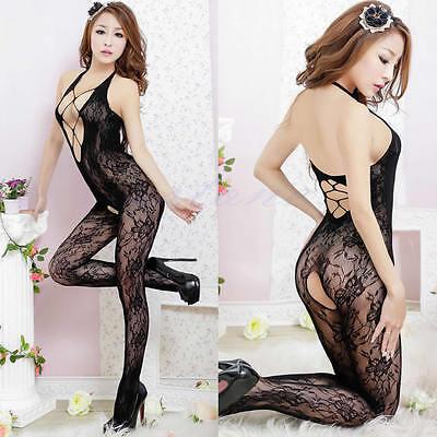 Women Black Sexy Fishnet Net Lingerie Body stocking Sleepwear Underwear  Babydoll fb28f80e3