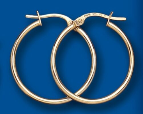 Hoop Earrings Yellow gold Hoops Creole Slim Design 21mm