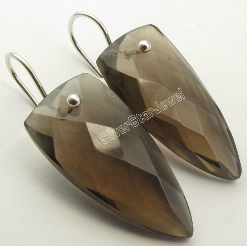 """Details about  /925 Silver Fabulous SMOKY QUARTZ Triangle EXTRA ORDINARY Earrings 1.5/"""""""