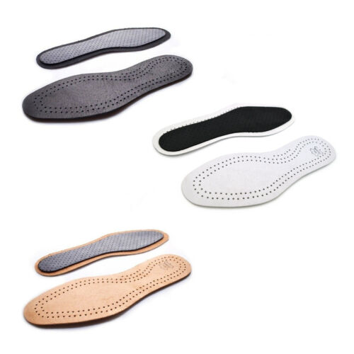 UNISEX LEATHER SHOE INSOLES ACTIVE CARBON GENUINE INNER SOLE BOOTS SIZES 3-12