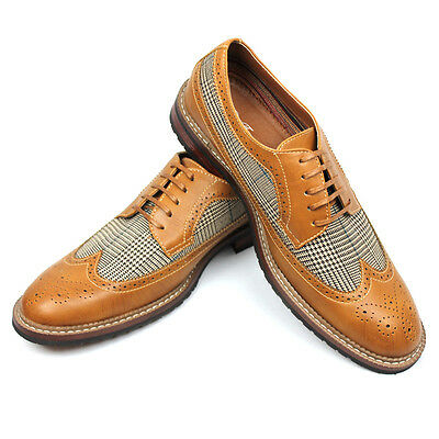 New Men's Brown Tan Ferro Aldo Checkered Plaid Shoes Wing Tip Brogue NEW 19312A