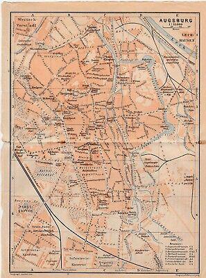 Analytisch Augsburg - Stadtplan Aus Baedeker Reiseführer Von 1914 (ca.15 X 20 Cm)