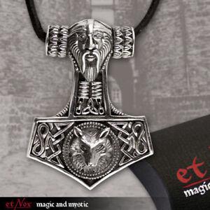 etNox-Anhaenger-Thors-Hammer-Wolfskopf-Silber-Gothic-Schmuck-NEU