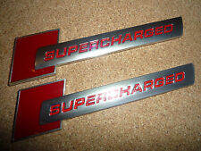 2 X AUDI SUPERCHARGED RED & SILVER BADGE S1 S3 S4 S5 RS3 RS4 RS5 RS TT S-LINE