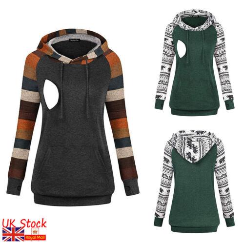 Womens Breastfeeding Nursing Hooded Jumpers Pregnancy Maternity Sweatshirt Tops