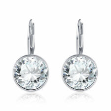 LARGE 15M Round Bella Earrings Clear Swarovski Crystal Silver Plated Bezel Lever