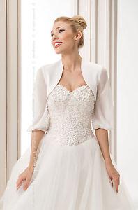 Women-Bridal-Ivory-or-White-Wedding-Satin-Bolero-Jacket-With-Chiffon-Sleeve-B-60