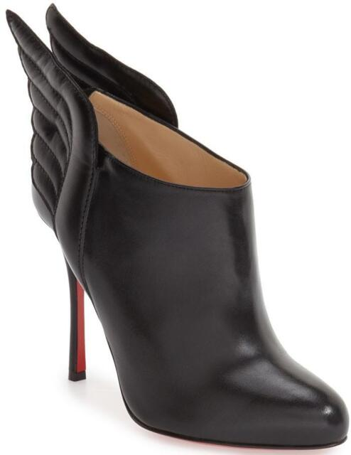 af68d87ee1a2 ... top quality christian louboutin mercura 100 wing leather ankle bootie  boots heel black 1295 7fadc fcd96