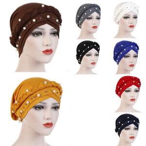 Muslim-Women-Hijab-Turban-Hat-Lady-Pearl-Bonnet-Cancer-Chemo-Cap-Head-Wrap