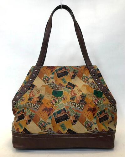 """Tote Bag YELLOW POSTCARD ITALIA Firenze Bella /""""Sofia/"""" Printed Leather Conv"""