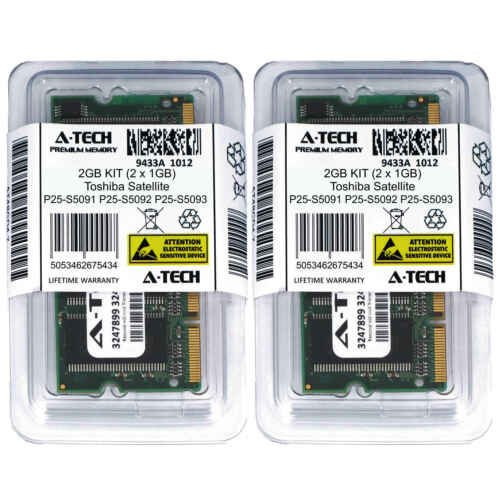 2GB KIT 2 x 1GB Toshiba Satellite P25-S5091 P25-S5092 P25-S5093 Ram Memory