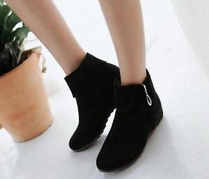 Women-039-s-Low-Heel-Comfortable-Ankle-Boots-Suede-Roma-New-Ladies-Shoes-Plus-Size