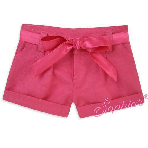 "Hot Pink Tie Waist Pleated Shorts fit 18"" American Girl Doll"