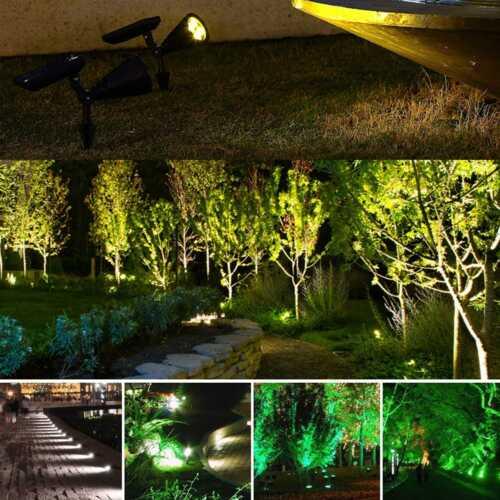 2er LED Solarleuchte Strahler Solarstrahler Gartenlampe Spot Licht Außen IP65