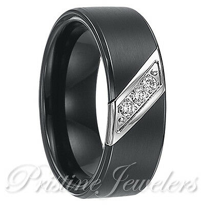 Black Tungsten Carbide 3 CZ Stone Wedding Band Comfort Fit Mens Engagement Ring