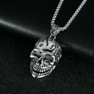 Totenkopf-Skull-Anhaenger-Halskette-Hip-Hop-Biker-Hals-Silber-Kette-Lang-Hip-Hop