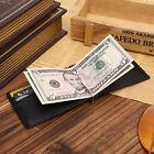 Men's Genuine Leather Slim Wallet Money Clip ID Credit Card Holder Case Purse