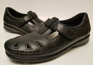 sas womens black leather mary jane casual shoes size 95 n