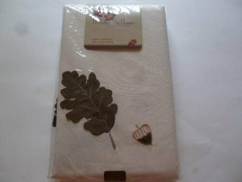 Thanksgiving automne nappe crème avec travail de découpe feuilles /& glands 60x84-52x70 NEUF