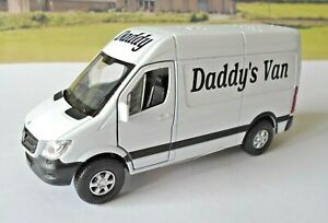 PERSONALISED-Daddys-Van-White-MERCEDES-SPRINTER-Van-Boys-Toy-Model-Present-Boxed