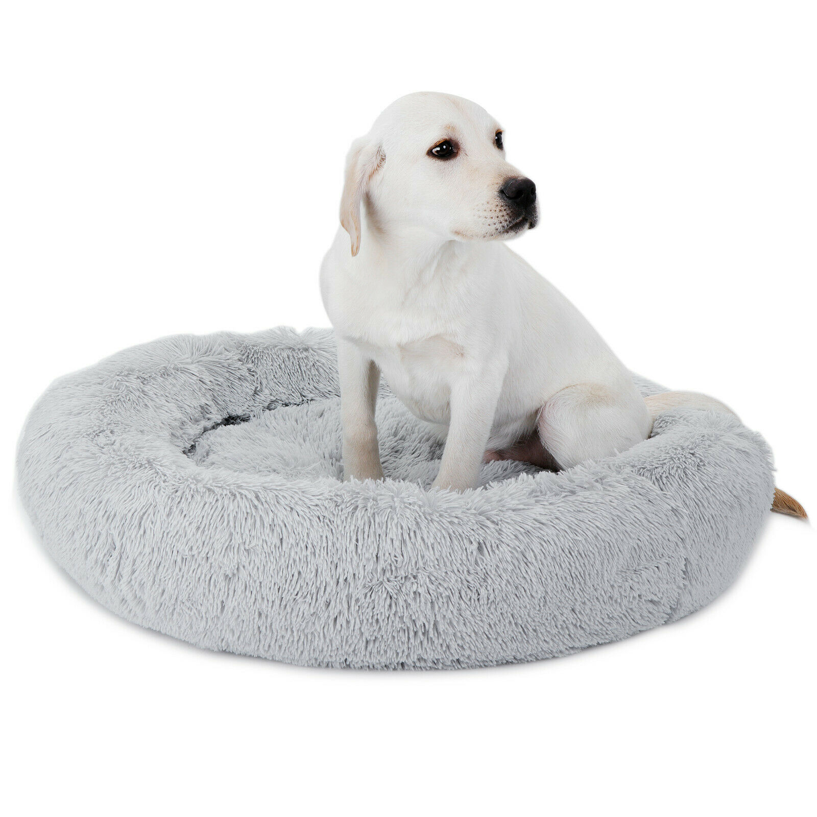 Fur Donut Cuddler Pet Calming Dogs Cats Bed Dog Beds Soft Warmer Dogs Cats Bed Beds