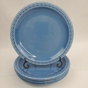 Set-of-4-VTG-Salad-Plates-SYRACUSE-China-Econo-Rim-Restaurant-Ware-Blue-7-1-4-034