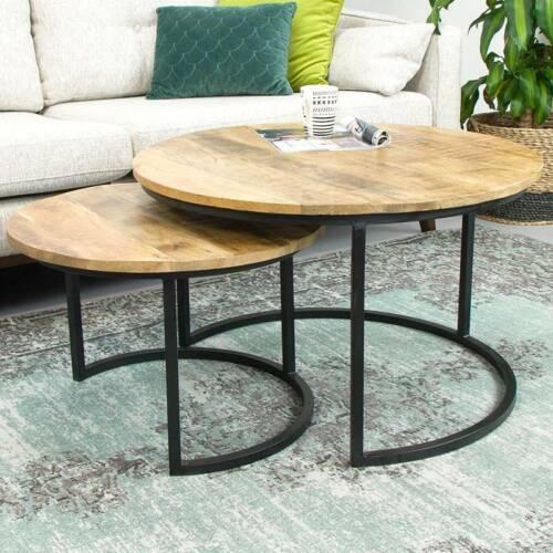 2er Set table basse mangoholz quelque métal Mango satztische sofatisch Noir