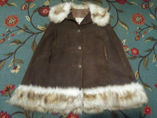 TREGOS Leather Womens Medium Coat CAPE Poncho Brow