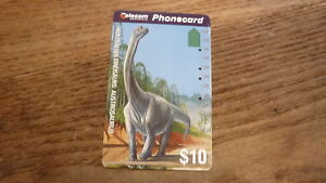 OLD-AUSTRALIAN-TELECOM-PHONECARD-10-DINOSAUR-AUSTROSAURUS