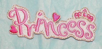 Princess Embroidered Motif Iron On Patch Badge Embroideries Pink Princess Crown