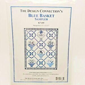 Counted-Cross-Stitch-Kit-Blue-Basket-Sampler-Design-Connection-K7-685