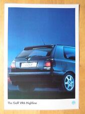 Volkswagen Golf VR6 Highline selten 1995 UK MKT Merkblatt Broschüre - VW