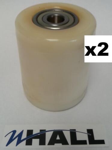 X2no Couronne PTH TRANSPALETTE Blanc Nylon Charge Rouleau//Roue Inc D20mm Roulements