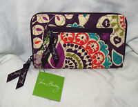 Vera Bradley Zip-Around Wallet Wristlet PLUM CRAZY Purple Green Paisley NEW wTAG