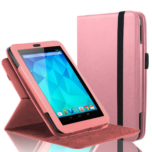 """360 Rotating Slim Leather Case Smart Cover Stand For Google Nexus 7"""" Tablet Pink"""